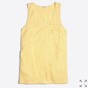 j crew striped tank top yellow breast pocket XS